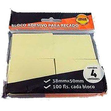 Bloco de recado autoadesivo Amarelo 38x50 100fls. - Leonora
