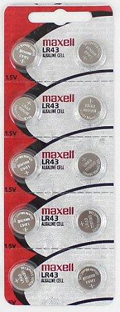 BATERIA LR 43-cartela c/10 pçs  toshiba ou maxell