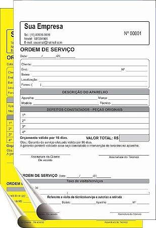 Talão 15x20 cm - 2 Vias  (Comandas, Orçamentos, Ordens de Serviços, Pedidos, Recibos, etc)