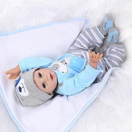 Bebe Reborn Menino com 55cm Olhos Azuis