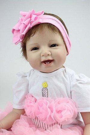 Linda Bebe Reborn Lacinho Jéssica 55cm - Pronta Entrega Envio Imediato