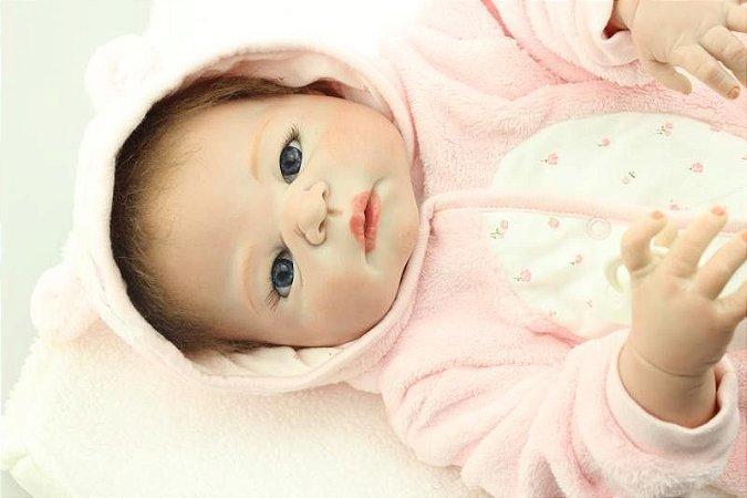 Bebe Reborn Emanuelle 57Cm Inteira em Silicone - Pronta Entrega