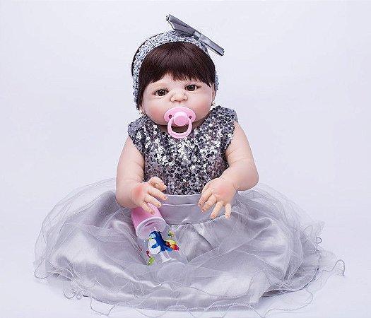 Bebe Reborn Ariela Luxo com Brinco e Inteira em Silicone