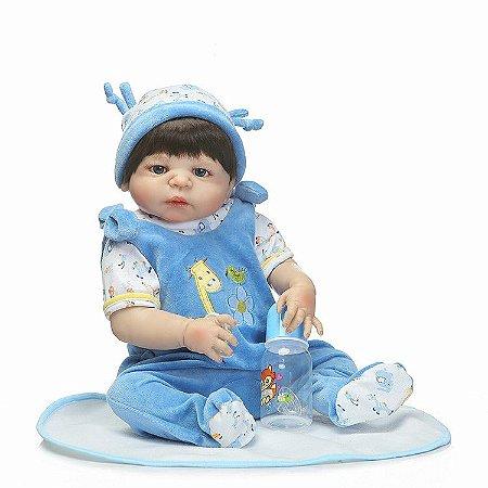 Bebe Reborn Artur Inteiro em Silicone com 55cm