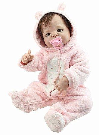 Bebe Reborn Lice com 55cm Inteira em Silicone e Pronta Entrega