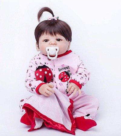Bebe Reborn Gabi com 55cm - Inteira em Silicone
