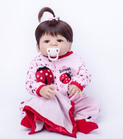 Bebe Reborn Gabi Inteira em Silicone - Pronta Entrega