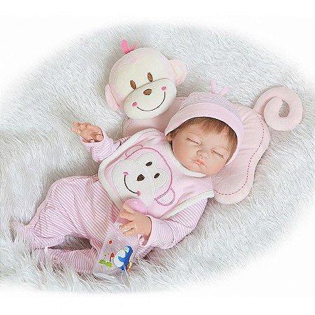 Bebe Reborn Mari Inteira em Silicone com Almofada de Macaquinho 55cm
