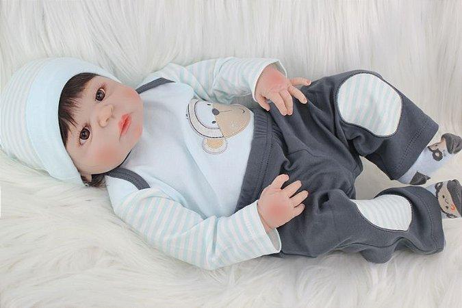 Bebe Reborn Denis com 55cm Inteiro em Silicone