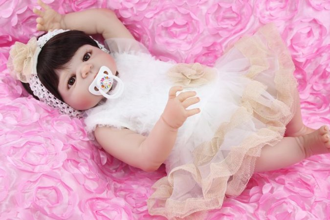 Bebe Reborn Maria Beatriz com 55cm Inteira em Silicone - Pronta Entrega