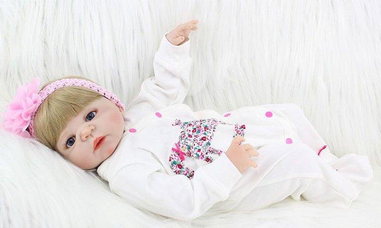 Bebe Reborn Briana 55cm, em Silicone, Pode tomar banho