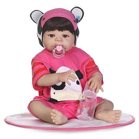 Bebe Reborn Melanie com 55cm Inteira em Silicone