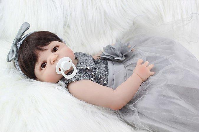 Bebe Reborn Ariela com Roupa de Festa - Pronta Entrega