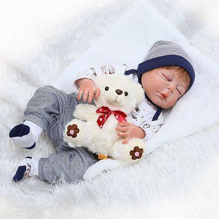 Bebe Reborn Júlio 55cm Inteiro em Silicone - Coleção Renascer