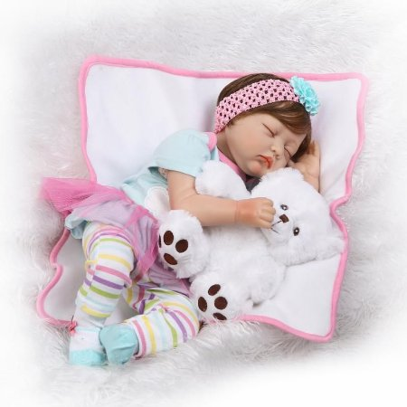 bebe reborn helena com ursinho 55cm pronta entrega loja da bebe reborn frete gr tis p todo. Black Bedroom Furniture Sets. Home Design Ideas