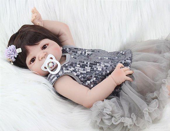 Bebe Reborn Emma 55cm, Inteira em Silicone - Pronta Entrega