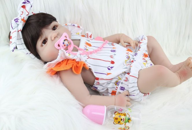 Bebe Reborn Charlotte 55CM, Inteira em Silicone - Pronta Entrega