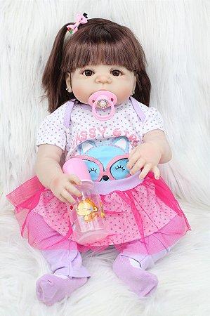 Bebe Reborn Sophia 55CM, Inteira em Silicone - Lançamento 2018