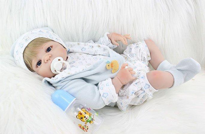 Bebe Reborn Shawn com 55cm, Inteiro em Silicone e Pronta Entrega