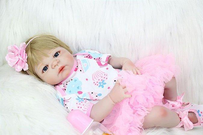 Bebe Reborn Manuella com 55cm Modelo 2018 - Inteira em Silicone!