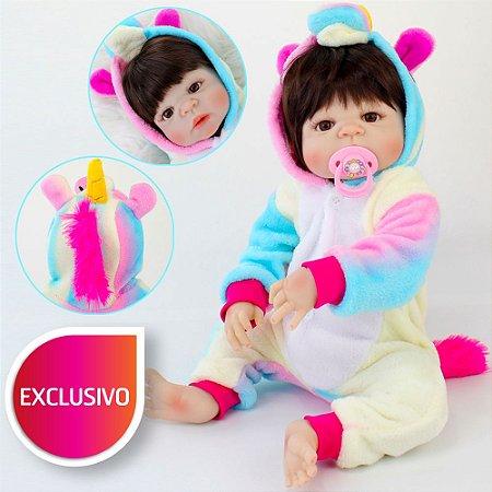 Bebê Reborn Toda em Silicone com Pijama Kigurumi de Unicórnio Arco-Íris - Exclusiva da Loja da Bebe Reborn