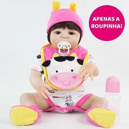 Enxoval Vogue Cow para Bebê Reborn 55cm - Somente a Roupinha!