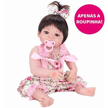 Vestido Floral Rosa para Bebê Reborn 55cm - Somente a Roupinha!