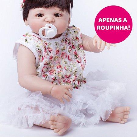 Vestido Floral Branco para Bebê Reborn 55cm - Somente a Roupinha!