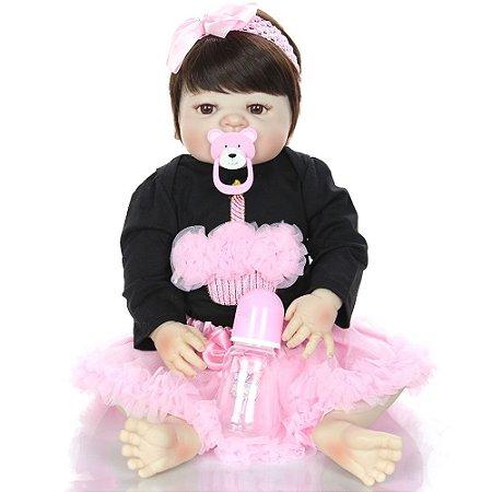 Bebê Reborn Carolina 55cm com Vestido de Velinha