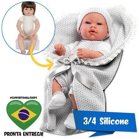 BONECO ESTILO BEBÊ REBORN PAUL ELEGANCE 40CM BABY BRINK - PRONTA ENTREGA!