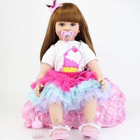 Bebê Reborn Clara 60cm em 3/4 Silicone com Roupinha de Sorvete
