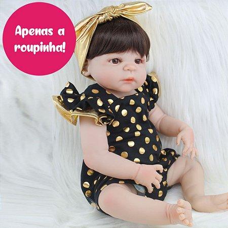 Enxoval em Tule Dourado para Bebê Reborn 55cm - Somente a Roupinha!