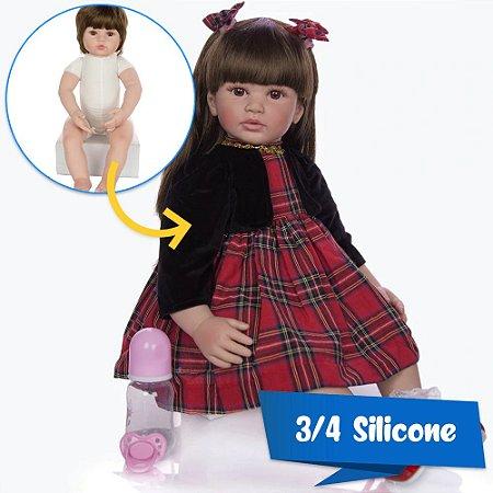Bebê Reborn Milena 60cm em 3/4 Silicone com Enxoval Xadrez