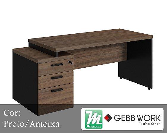 Start - Mesa Diretor com Gaveteiro Pedestal 2 Gavetas 1 Pasta