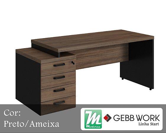 Start - Mesa Diretor com Gaveteiro Pedestal 4 Gavetas