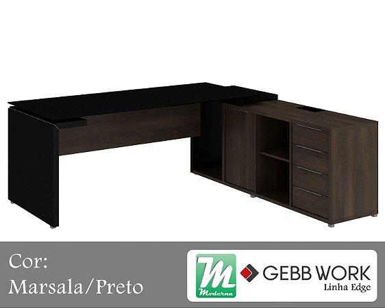 Edge - Mesa Diretor Dinâmica em L com Armário Pedestal e Tampo de Vidro