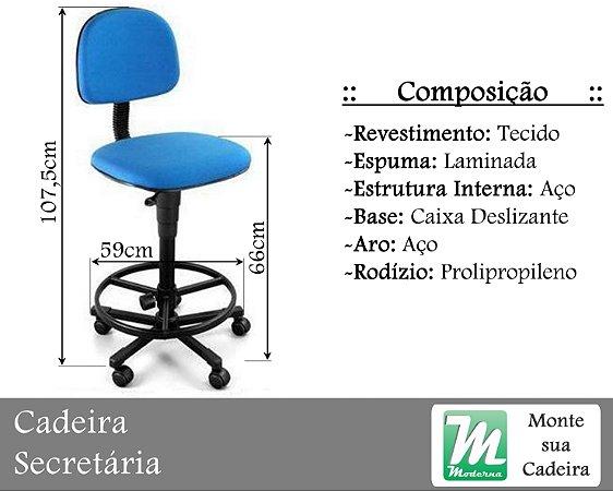 Cadeira Secretária Caixa Fixa ou Deslizante c/ Base em Aço