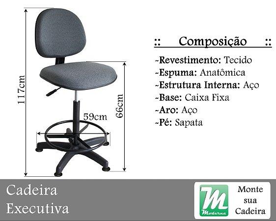 Cadeira Executiva Caixa Deslizante ou Fixa c/ Base Aço