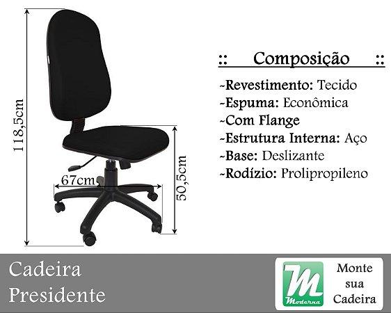 Cadeira Presidente Deslizante c/ Base Aço