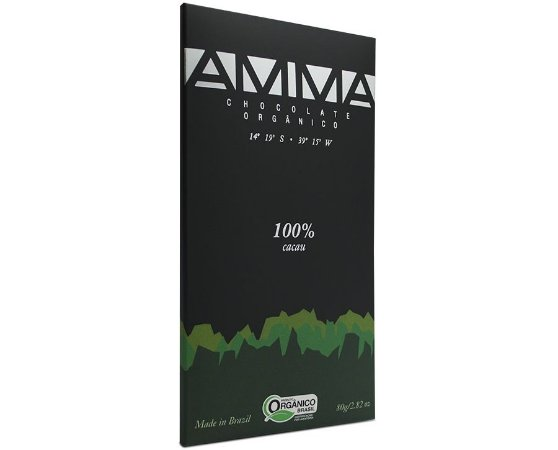 Chocolate Orgânico 100% Cacau 80g - Amma Chocolate