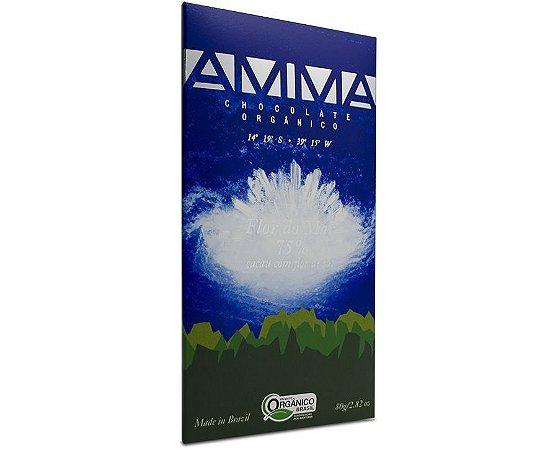 Chocolate Orgânico com Flor do Mar 75% Cacau 80g - Amma Chocolate