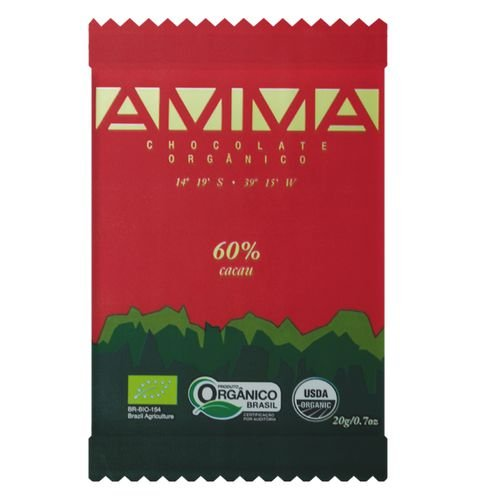 Chocolate Orgânico 60% Cacau 20g - Amma Chocolate