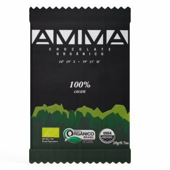Chocolate Orgânico 100% Cacau 20g - Amma Chocolate