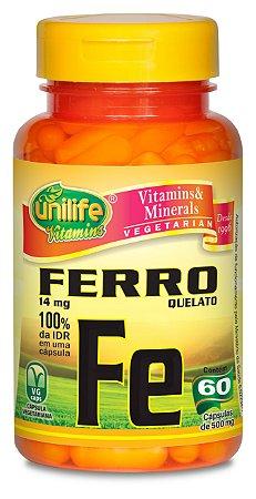 Ferro Quelato Fe 500mg 60 cápsulas - Unilife