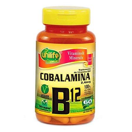 Vitamina B12 Cianocobalamina 450mg 60 Cápsulas - Unilife