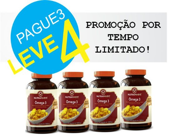 Omega 3 - 60 Cápsulas 100mg - NutraMagic - Pague 3 leve 4