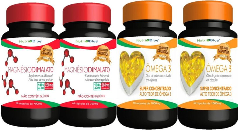 2 Magnésio Dimalato + 2 Omega 3 Nutriblue