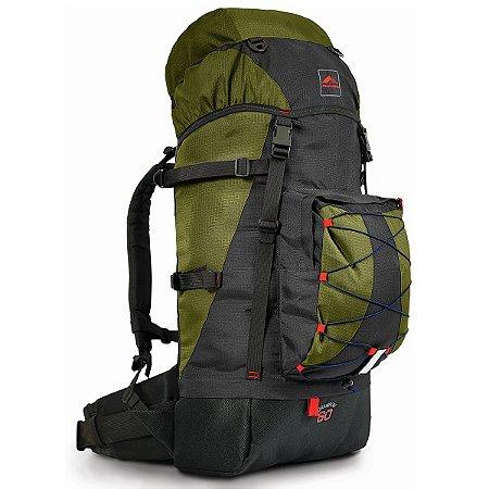 Mochila Trilhas e Rumos Crampon Trekking 60 litros Verde com Preto