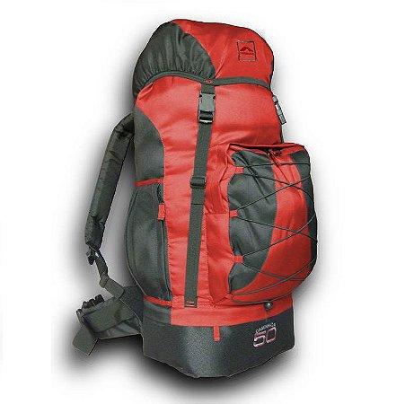 Mochila Trilhas & Rumos Caminhada 50L Vermelho com Preto