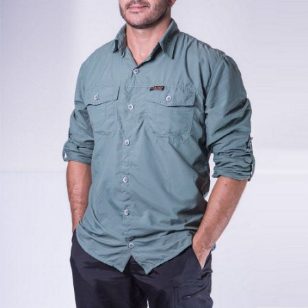 Camisa Masculina Hard Adventure Safari UV50+ Verde Claro